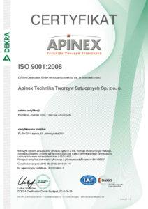 APINEX Technika Tworzyw Sztucznych Sp. z o.o. - Zertifikat ISO 9001:2008