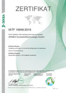 Apinex GmbH Zertifikat ISO/TS 16949:2009