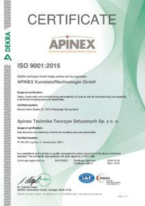 Apinex GmbH Zertifikat ISO9001:2008
